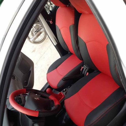 روکش صندلی چرم ساده مشکی قرمز