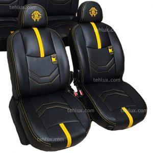 روکش صندلی چرم مشکی زرد