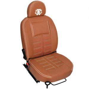 روکش صندلی چرم قهوه ای با دوخت سفید