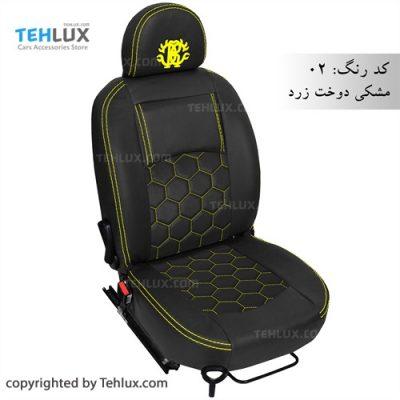 روکش صندلی مشکی دوخت زرد تهلوکس