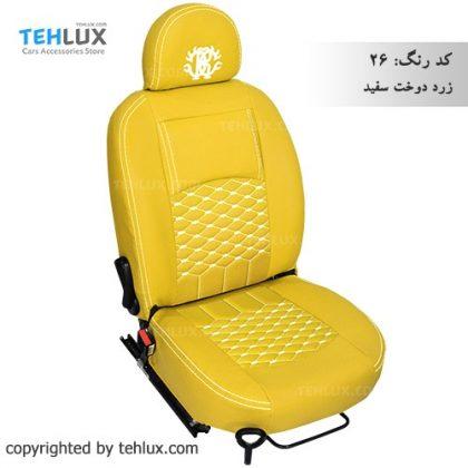 روکش صندلی اسپرت 206 زرد-دوخت-سفید