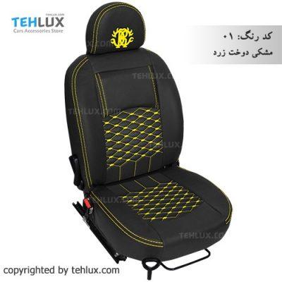 روکش صندلی مشکی-دوخت-زرد پژو پارس پژو 405 206 تیبا پراید