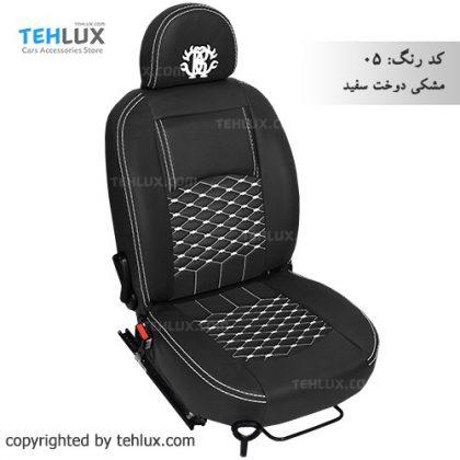 روکش صندلی مشکی-دوخت-سفید پژو پارس پژو 405 206 تیبا پراید