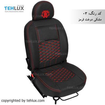 روکش صندلی مشکی-دوخت-قرمز پژو پارس پژو 405 206 تیبا پراید