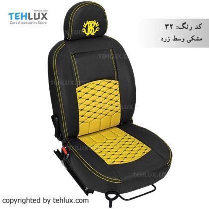 روکش صندلی مشکی-وسط-زرد پژو پارس پژو 405 206 تیبا پراید