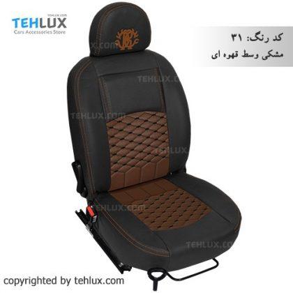 روکش صندلی مشکی-وسط-قهوه-ای پژو پارس پژو 405 206 تیبا پراید
