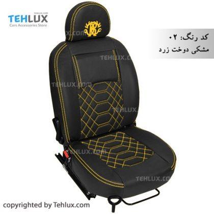 روکش صندلی چرم مشکی با دوخت زرد