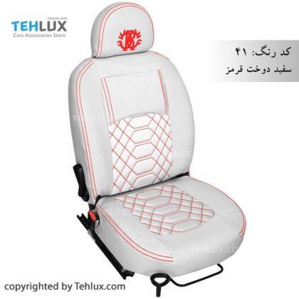 روکش صندلی چرم سفید با دوخت قرمز
