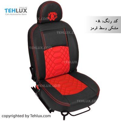 روکش صندلی چرم مشکی وسط قرمز